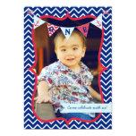 "Nautical First Birthday Boy Photo Party Invitation 5"" X 7"" Invitation Card"