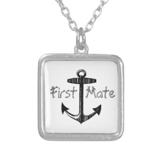 Nautical First Mate Anchor Square Pendant Necklace