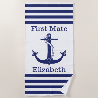 Nautical First Mate Blue Anchor Personalized Beach Towel at Zazzle