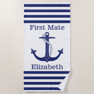 Nautical First Mate Blue Anchor Personalized Beach Towel