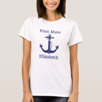 Nautical First Mate Blue Anchor Personalized T-Shirt