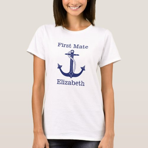Nautical First Mate Blue Anchor Personalized T_Shirt