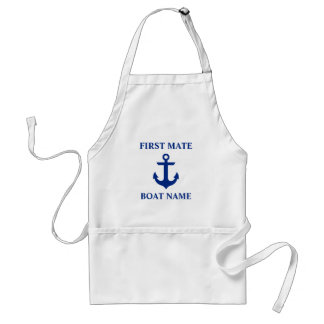 Nautical First Mate Boat Name Anchor Adult Apron