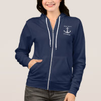 Nautical First Mate White Anchor Personalized Hoodie