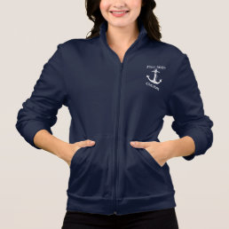 Nautical First Mate White Anchor Personalized Jacket