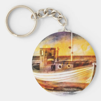 Nautical Fishing Boat on Beach at Sunset Ocean Art Basic Round Button Keychain