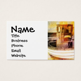 Nautical Fishing Boat on Beach at Sunset Ocean Art Business Card