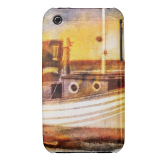 Nautical Fishing Boat on Beach at Sunset Ocean Art iPhone 3 Case-Mate Cases