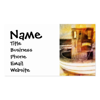 Nautical Fishing Boat on Beach at Sunset Ocean Art Double-Sided Standard Business Cards (Pack Of 100)