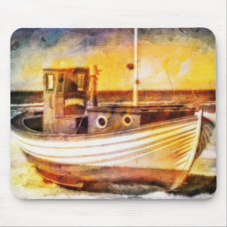 Nautical Fishing Boat on Beach at Sunset Ocean Art Mouse Pad