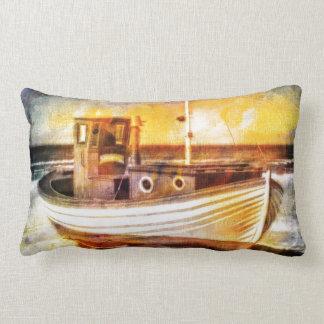 Nautical Fishing Boat on Beach at Sunset Ocean Art Throw Pillow