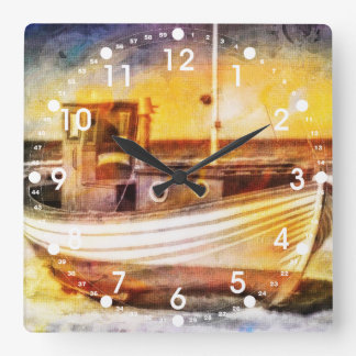 Nautical Fishing Boat on Beach at Sunset Ocean Art Square Wall Clock