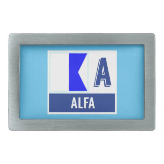 Nautical Flag A (Alfa) Rectangular Belt Buckle