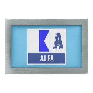 Nautical Flag A (Alfa) Rectangular Belt Buckle