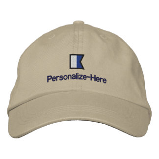 """Nautical Flag """"A"""" Personalized Boater's Hat"""