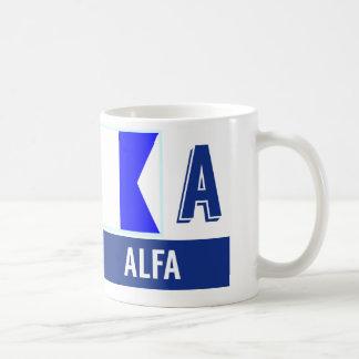 """Nautical Flag Alphabet """"A"""" Alpha Coffee Mug"""