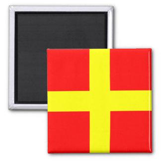 Nautical Flag Alphabet Sign Letter R (Romeo) 2 Inch Square Magnet