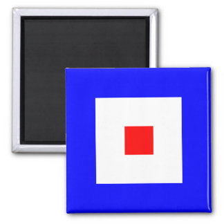 Nautical Flag Alphabet Sign Letter W (Whiskey) 2 Inch Square Magnet