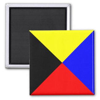 Nautical Flag Alphabet Sign Letter Z (Zulu) 2 Inch Square Magnet