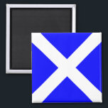 """Nautical Flag Alphabet Signal Letter M (Mike) Magnet<br><div class=""""desc"""">Nautical Flag Alphabet Signal Letter M Square Fridge Magnet. Square marine signal nautical alphabet flag &quot;Mike&quot; - letter M with white cross against blue color background magnet.</div>"""