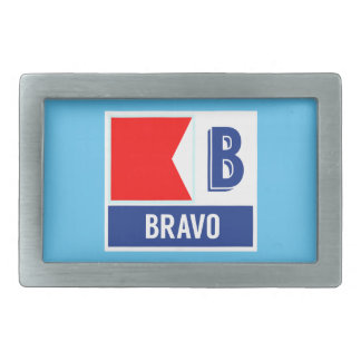 Nautical Flag B (Bravo) Rectangular Belt Buckle