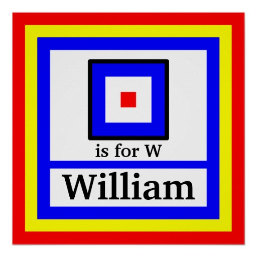 Nautical Flag is for W and Your Child's Name Poster