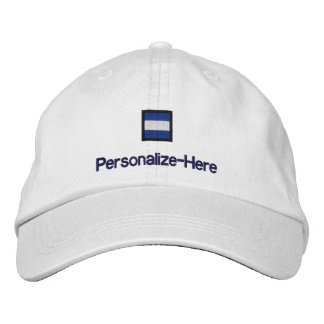 """Nautical Flag """"J"""" Personalized Boater's Hat"""