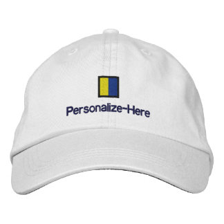"""Nautical Flag """"K"""" Personalized Boater's Hat"""