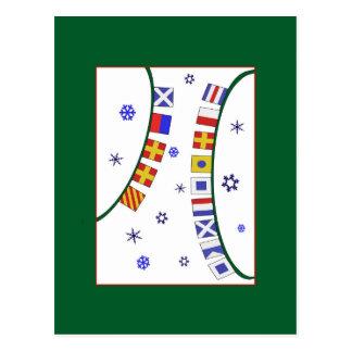Nautical Flag Merry Christmas Postcard