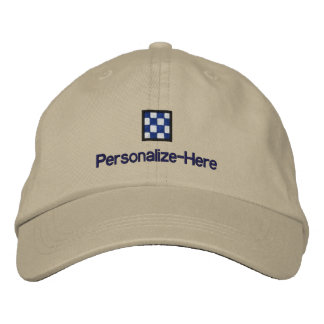"""Nautical Flag """"N"""" Personalized Boater's Hat"""