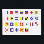 "Nautical Flag Pattern Placemat<br><div class=""desc"">These flags are international signals used by ships at sea to spell out short messages,  or more commonly,  used individually or in combination they have special meanings.</div>"