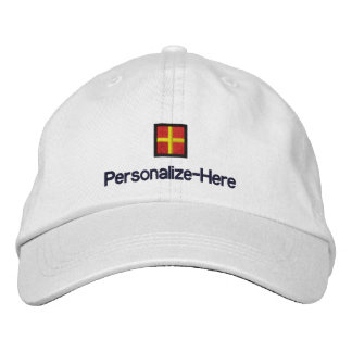 """Nautical Flag """"R"""" Personalized Boater's Hat"""