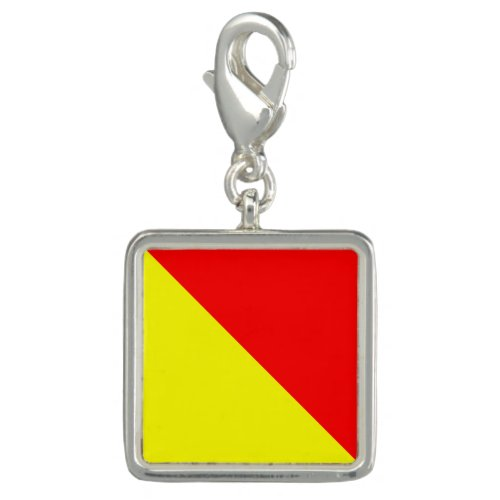"""Nautical Flag Signal Code Letter O """"October"""" Charm"""