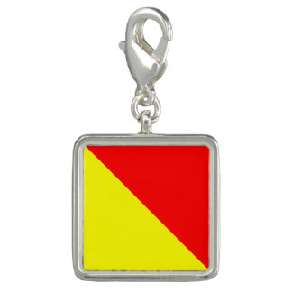 """Nautical Flag Signal Code Letter O """"October"""" Photo Charms"""