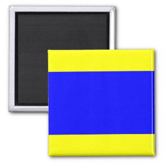 Nautical Flag Signal Letter D (Delta) 2 Inch Square Magnet