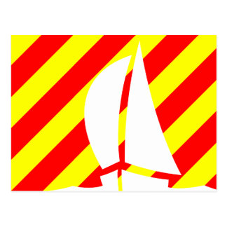 Nautical Flag Signal Letter Y Yankee Sailing Boat Post Card