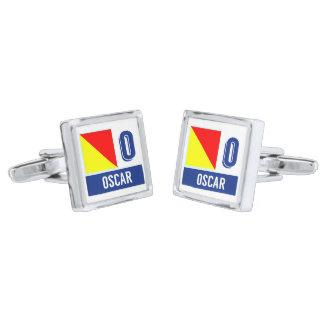 Nautical Flag Symbol Code O (Oscar) Silver Finish Cuff Links
