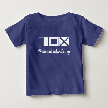 Beach Themed Nautical flag tee, monogram/personalize initials baby T-Shirt