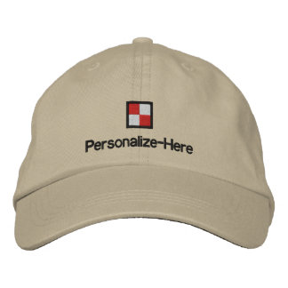 """Nautical Flag """"U"""" Personalized Boater's Hat Embroi"""