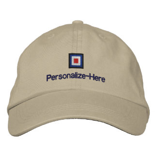 """Nautical Flag """"W"""" Personalized Boater's Hat"""