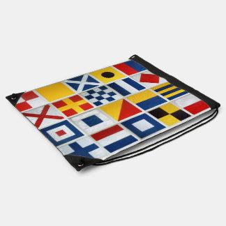 Nautical flags drawstring bag