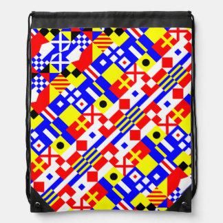 Nautical Flags Pattern Drawstring Bag
