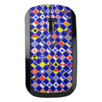 Nautical Flags signal Navy Blue Checkered style Wireless Mouse