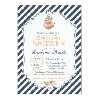 Nautical Floral Anchor Bridal Shower Card