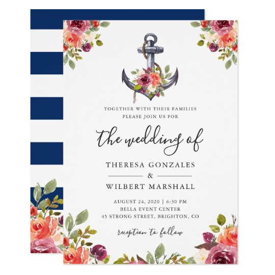 Nautical Fl Anchor Navy Blue Stripes Wedding Invitation