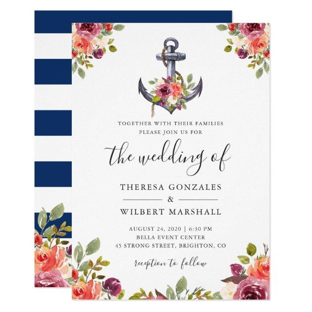 ae02d6fa9bff Nautical Floral Anchor Navy Blue Stripes Wedding Invitation