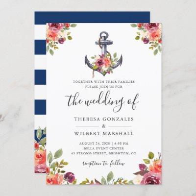 Nautical Floral Anchor Navy Blue Stripes Wedding Invitation
