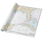 Nautical Florida Gulf of Mexico Mariner's Chart Wrapping Paper