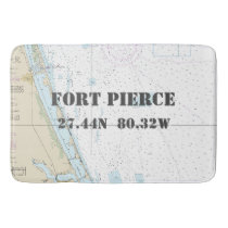 Nautical Fort Pierce FL Longitude Latitude Chart Bathroom Mat