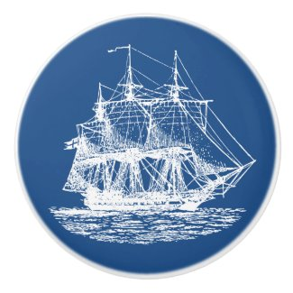Nautical Frigate Pick Any Color Round Ceramic Pull